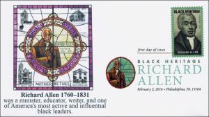 2016, Richard Allen, FDC, Digital Color Postmark, Black Heritage, 16-040