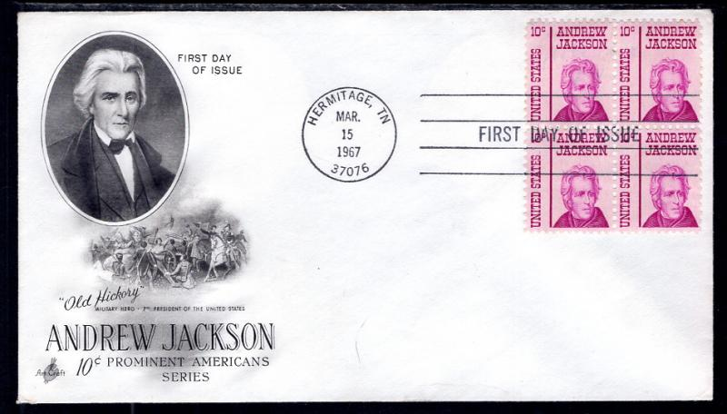 US 1286 Andrew Jackson Block of Four Artcraft U/A FDC