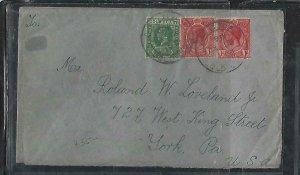 GOLD COAST (P2708B)  1921 KGV 1/2D+ 1DX2 ACCRA TO USA