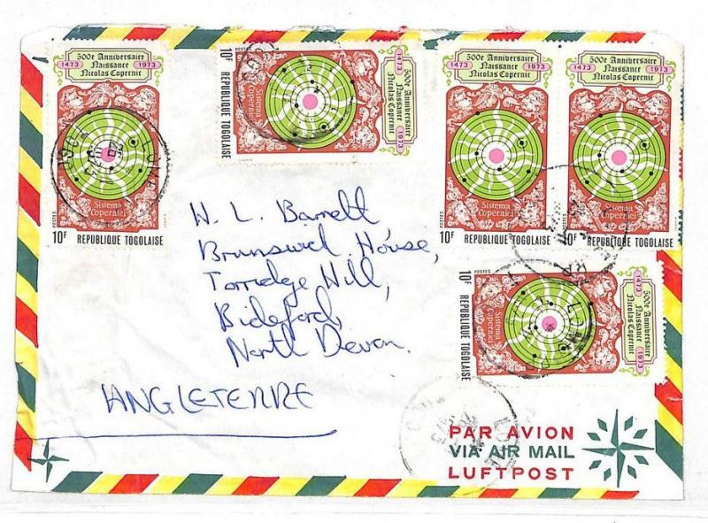 VV362 1973 TOGO COMMERCIAL AIRMAIL Franking Devon GB England {samwells-covers}