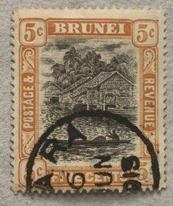 Brunei scarce full date 1913 MUARA village cancel on 1908 5c, Scott 22,  SG 40