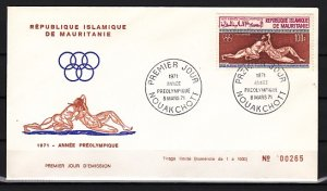 Mauritania, Scott cat. C106. Pre-Olympics, Wrestlers issue. First day cover. ^