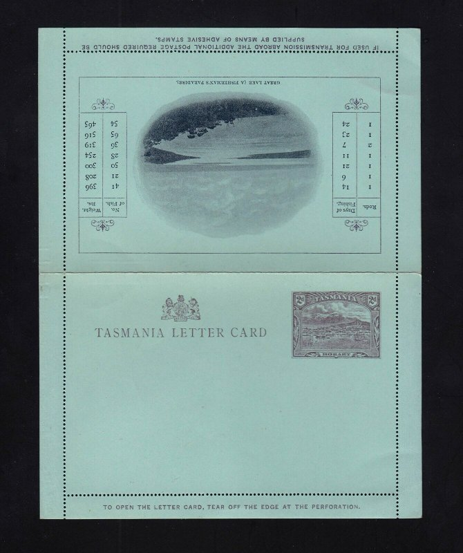 TASMANIA: H&G #A2 2d VIEW Mint Letter Card - GREAT LAKE