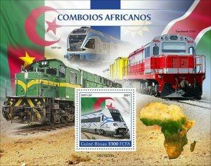 Guinea-Bissau - 2021 African Trains on Stamps - Stamp Souvenir Sheet - GB210221b