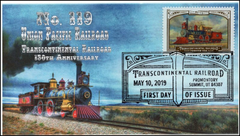 19-096, 2019, Trans Continental Railroad, Pictorial Postmark, FDC, No. 119