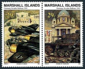 Marshall 276-277a pair,MNH. WW II,Germans invades the Balkans,Apr.1941,1991.