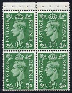 SG505c KGVI 1 1/2d Pale Green Booklet Pane of Four Wmk Upright U/M
