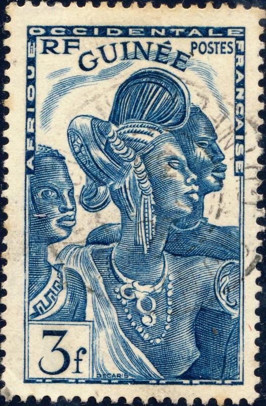 GUINÉE / FRENCH GUINEA - 1938 -Yv.143 / Mi.157 3fr bleu-vert Oblitéré TB