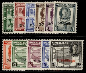 SOMALILAND PROTECTORATE GVI SG125-135, complete set, NH MINT. Cat £55.