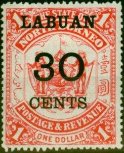Labuan 1895 30c on $1 Scarlet SG78 Fine Mtd Mint