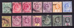 STRAITS SETTLEMENTS 1906  KEVII PART SET TO $1  FU