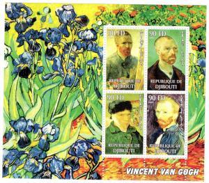 Djibouti 2002 VINCENT VAN GOGH Paintings Sheet Perforated Mint (NH)