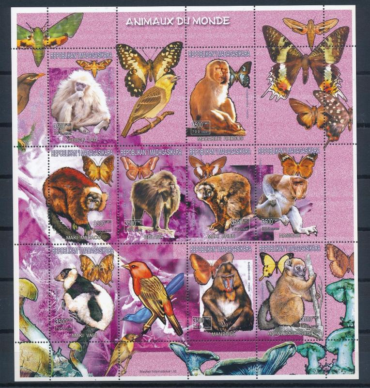 [38859] Madagascar 1999 Animals Mammals Monkeys Butterflies MNH Sheet