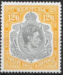BERMUDA SG120c 1944 12/6 DEEP GREY & BROWNISH ORANGE p14 MTD MINT