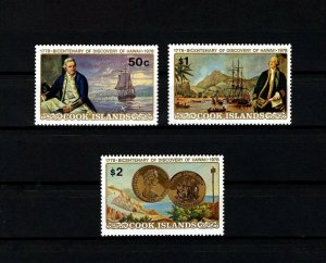 COOK IS - 1978 - CAPTAIN COOK - SHIP - DISCOVERY OF HAWAII - COIN + MNH SET!