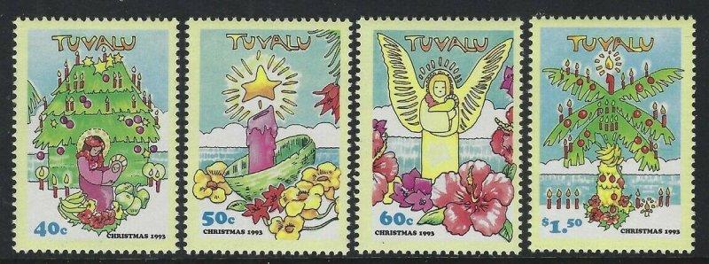 Tuvalu 1993 Christmas set Sc# 653-56 NH