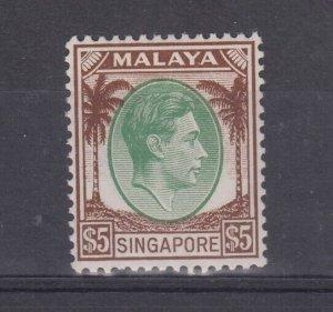 Malaya Singapore KGVI 1948 $5 Green Brown SG15 MVLH J7572