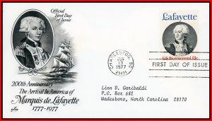 US FDC #1716 13c Marquis de Lafayette - Artcraft Cachet