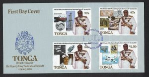 1988 Tonga Boy Scout stamp-on-stamp King 70th birthday FDC