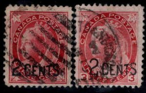 CANADA Scott 87-88  Used 1899 surcharged Queen  Victoria Stamp set