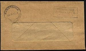 COOK IS 1972 cover scarce RAROTONGA Permit 3 frank........................71940W