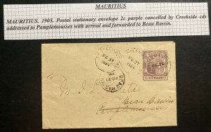 1905 Creekside Mauritius Postal Stationery Cover To Pamplemousses