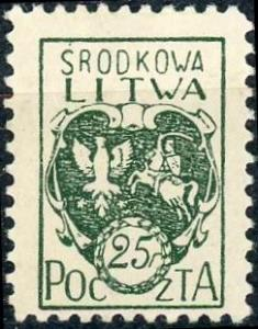Central Lithuania #2 25f Coat of Arms Unused/H