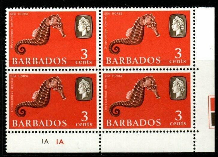 BARBADOS SG344 1966 3c MARINE LIFE WMK SIDEWAYS BLOCK OF 4 MNH