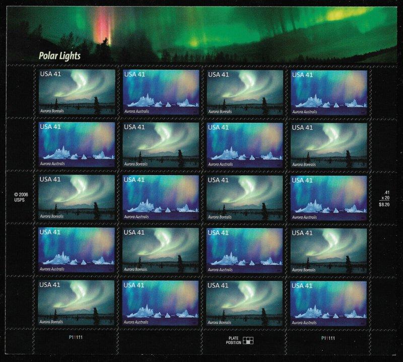 MALACK 4203-04 41c Auroras Sheet, VF mint never hing..MORE.. stock4203-04