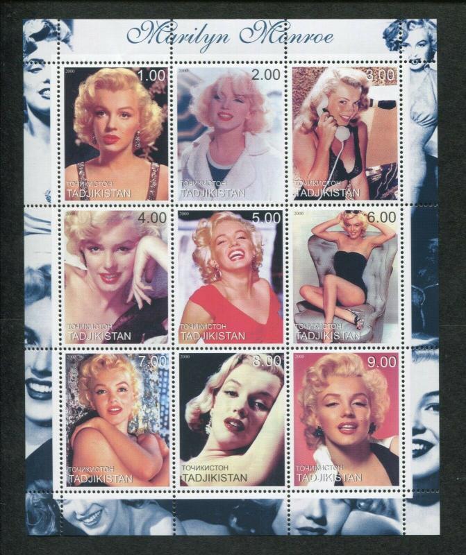 Tajikistan Commemorative Souvenir Stamp Sheet - Marilyn Monroe