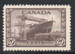 Canada Sc 260 1942 20c Shipbuilding  stamp mint