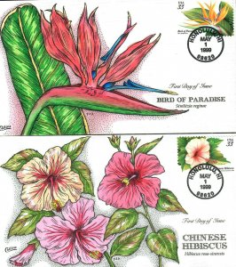 US Collins FDC Sc#3310-13 Flowers Set Of 4
