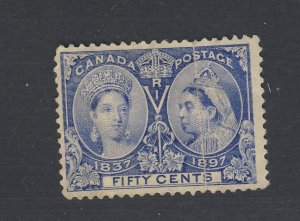 Canada Victoria Jubilee MH Stamps #60-50c Fine Crease Thin Guide Value= $150.00