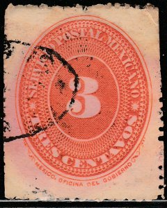 MEXICO 222, 3c LARGE NUMERAL, F USED. (228)