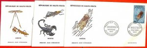 aa3197 - Haute UPPER VOLTA - POSTAL HISTORY - set of 3 FDC covers 1966  INSECTS