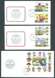 Tuvalu SC#460-464 16th World Scout Jamboree stamp and S/S (1987) FDC