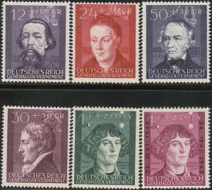Stamp Germany Poland General Gov't Mi 096-100+ Sc NB19 1942 WWII Scientists MH