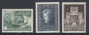 Austria Sc 608-610 MLH. 1955-56 issues, 3 complete sets, fresh