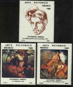 MEXICO 1488-1490 Cent Birth of Painter Saturnino Herran MINT, NH. VF.