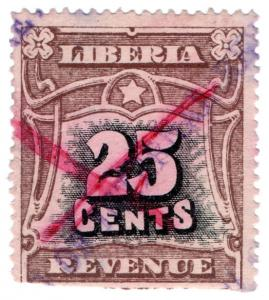 (I.B) Liberia Revenue : Duty Stamp 25c