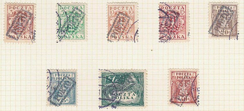 POLAND 1919 Krakow local overprint postage dues - 8 used....................A605