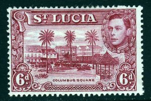 ST LUCIA King George VI 1938 Six Pence Claret Perf 13½ SG 134 MINT