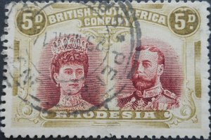 Rhodesia Double Head Five Pence with flaw and PENHALONGA (TC) postmark