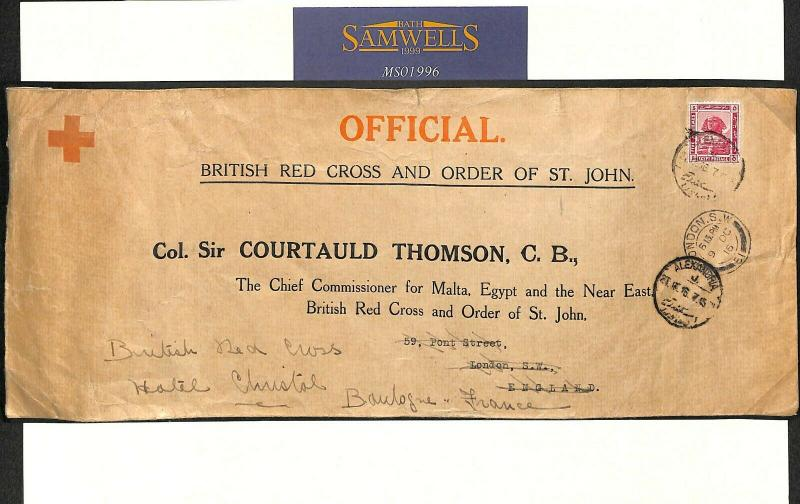 EGYPT WW1 Official RED CROSS Cover *Courtauld Thomson* 1916 France MS1996