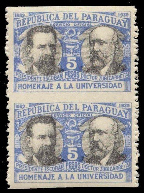 Paraguay 1908 Horizontally Imperforate Vertical Pair
