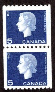 Scott 409, 5c, pair, VF, MNHOG, Cameo Issue Coil Stamps, Canada Postage Stamps