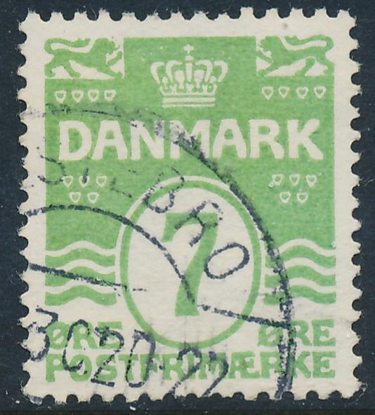Denmark Scott 91 (AFA 167), 7ø green Wavy Lines, VF Used