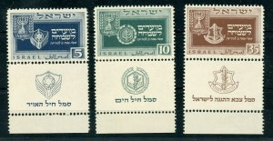 ISRAEL SCOTT#28/30 TABS HOLIDAYS MINT NEVER HINGED ORIGINAL GUM PRISTINE