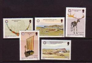 Isle of Man Sc 301-5 1986 atifacts architecture stamps NH