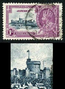 Jamaica SG117a 1935 Silver jubilee 1/- Variety Extra Flagstaff Fine used